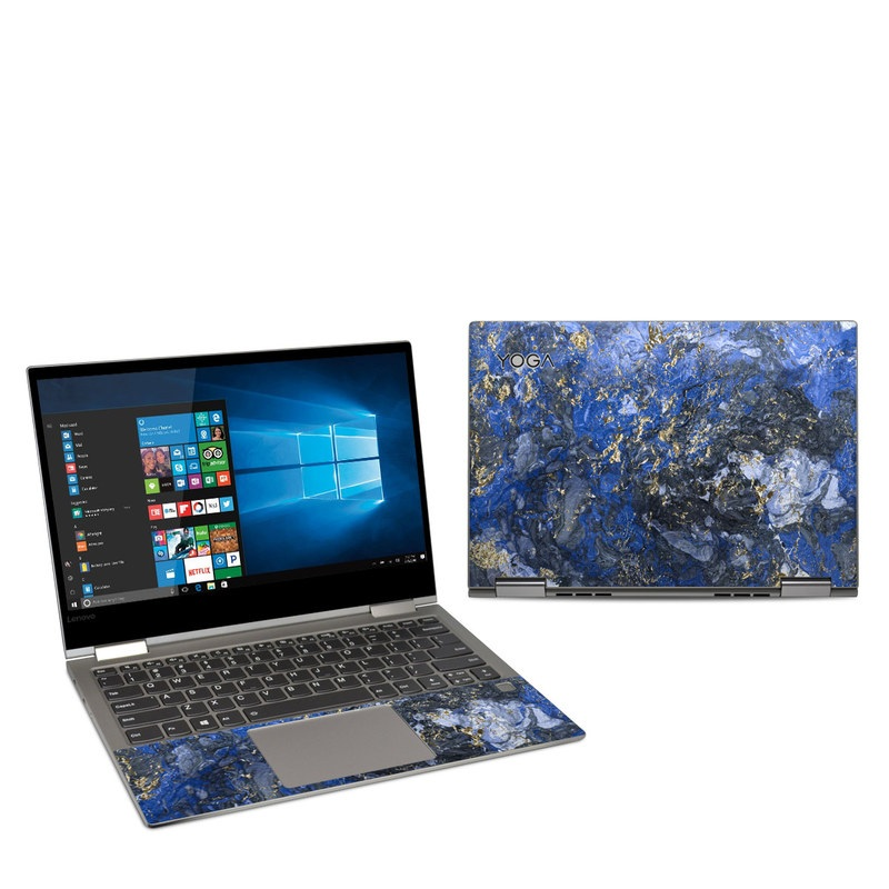 Lenovo Yoga 730 13-inch Skin design of Blue, Water, Cobalt blue, Rock, Painting, Geology, Electric blue, Mineral, Pattern, Acrylic paint with black, blue, yellow, white, gray colors