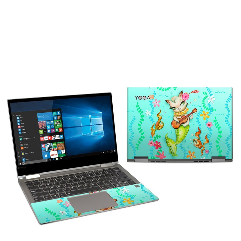 Lenovo Yoga 730 13-inch Skin design of Fictional character, Illustration, Mermaid, Mythical creature, Clip art, Art with blue, green, pink, yellow, orange, white, gray, brown colors