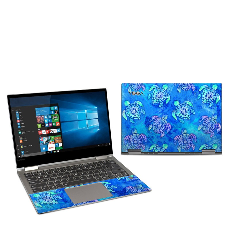 Lenovo Yoga 730 13-inch Skin design of Blue, Pattern, Organism, Design, Sea turtle, Plant, Electric blue, Hydrangea, Flower, Symmetry with blue, green, purple colors