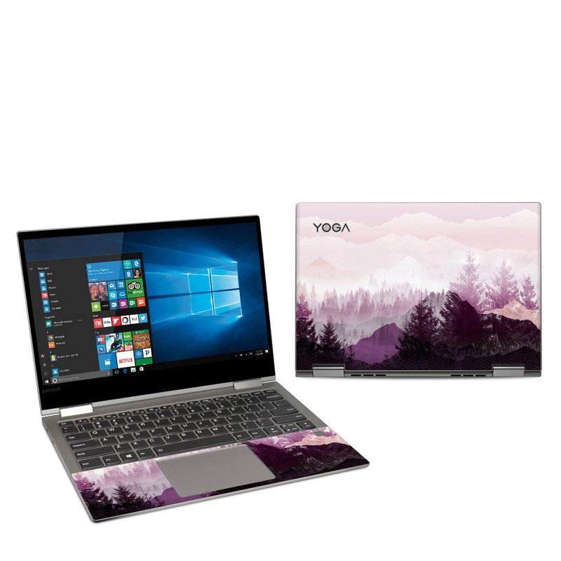 Lenovo Yoga 730 13-inch Skin design of Sky, Purple, Atmospheric phenomenon, Pink, Natural landscape, Violet, Mountain, Tree, Morning, Mountain range with white, purple, black, pink colors