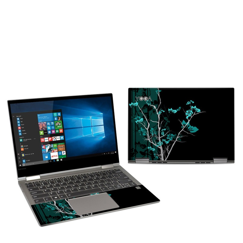Lenovo Yoga 730 13-inch Skin design of Branch, Black, Blue, Green, Turquoise, Teal, Tree, Plant, Graphic design, Twig with black, blue, gray colors