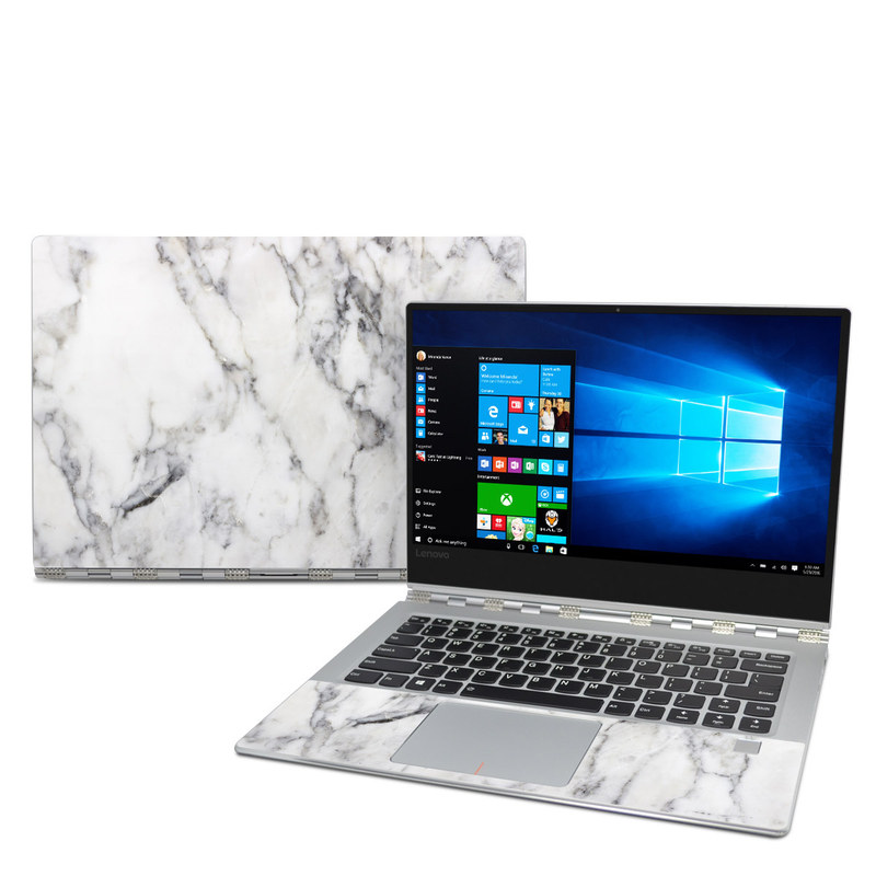 Lenovo Yoga 910 Skin design of White, Geological phenomenon, Marble, Black-and-white, Freezing with white, black, gray colors