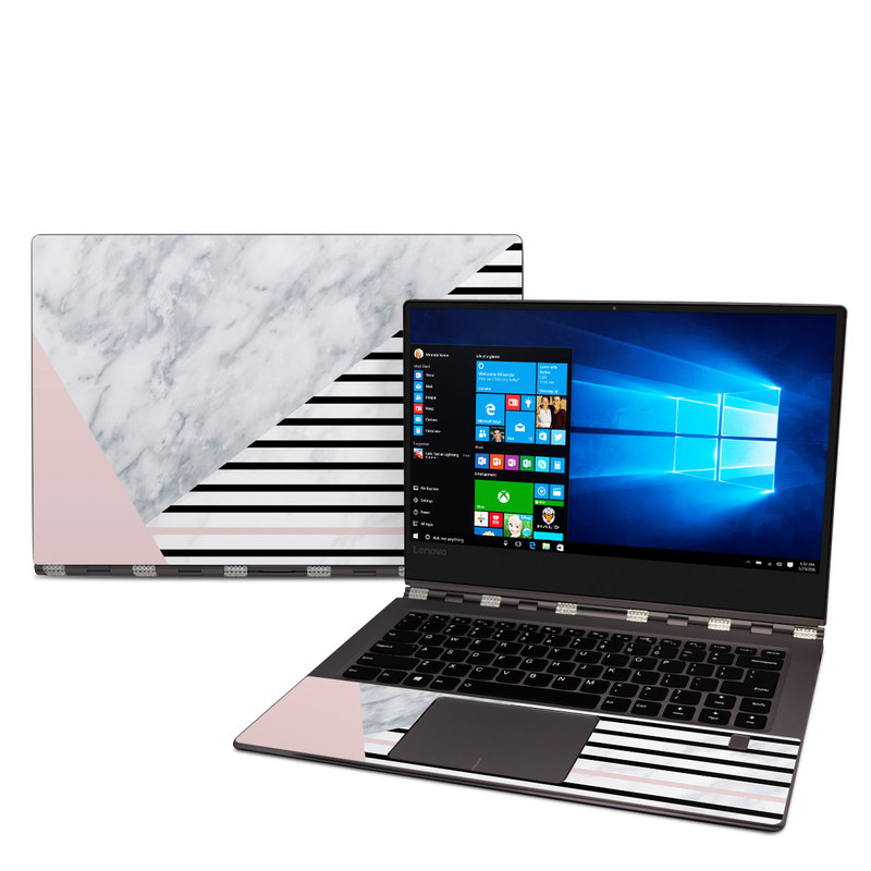 Lenovo Yoga 920 Skin design of White, Line, Architecture, Stairs, Parallel with gray, black, white, pink colors