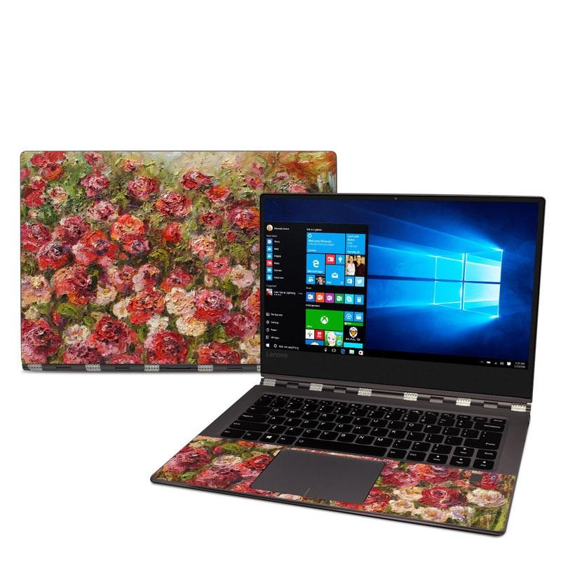 Lenovo Yoga 920 Skin design of Flower, Garden roses, Rose, Plant, Floribunda, Flowering plant, Rosa × centifolia, Rose family, Botany, Petal with red, black, green, gray colors