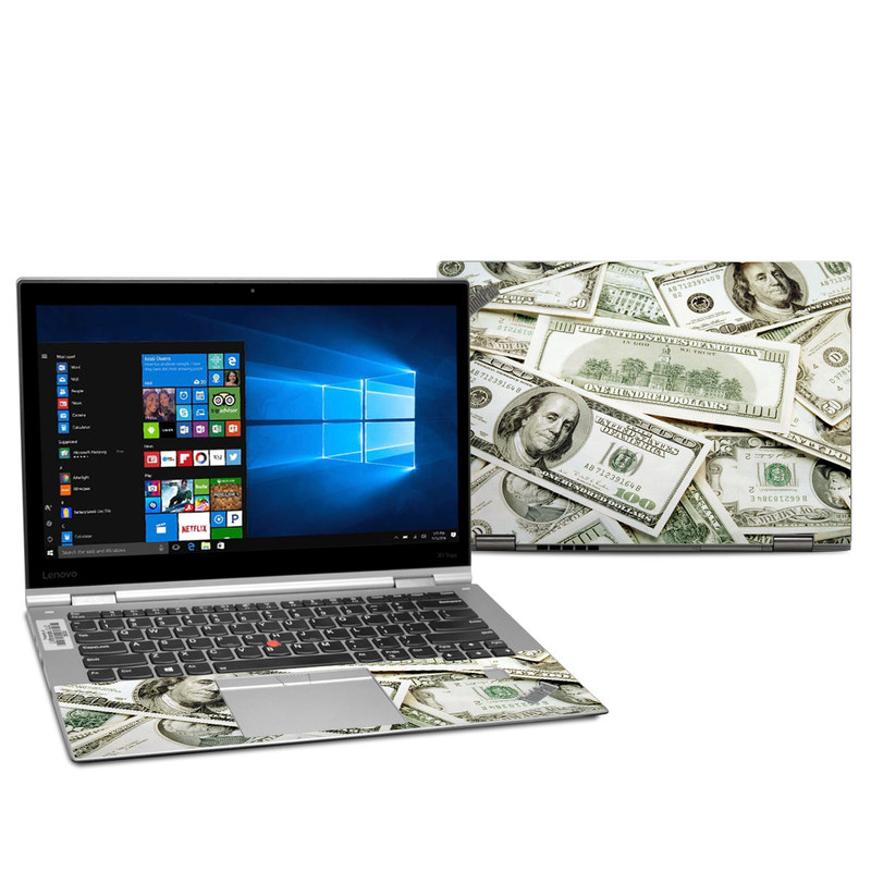 Lenovo ThinkPad X1 Yoga 2nd Gen Skin design of Money, Cash, Currency, Banknote, Dollar, Saving, Money handling, Paper, Stock photography, Paper product with green, white, black, gray colors