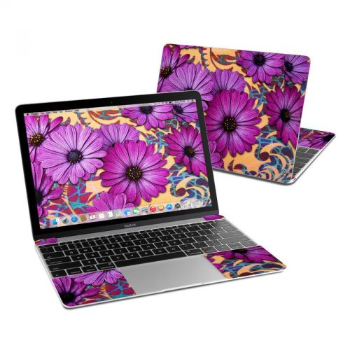 Purple Daisy Damask MacBook 12-inch Skin