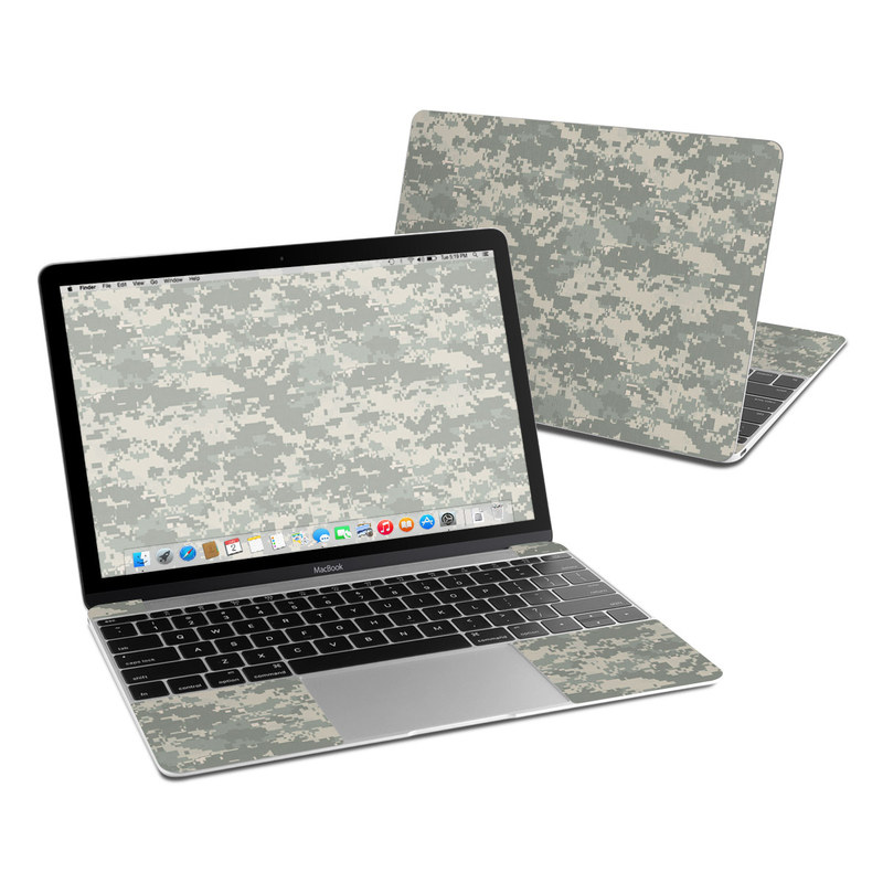 MacBook 12-inch Skin design of Military camouflage, Green, Pattern, Uniform, Camouflage, Design, Wallpaper with gray, green colors