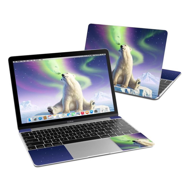 MacBook 12-inch Skin design of Aurora, Sky, Wildlife, Polar bear, Fictional character with white, blue, green, purple colors