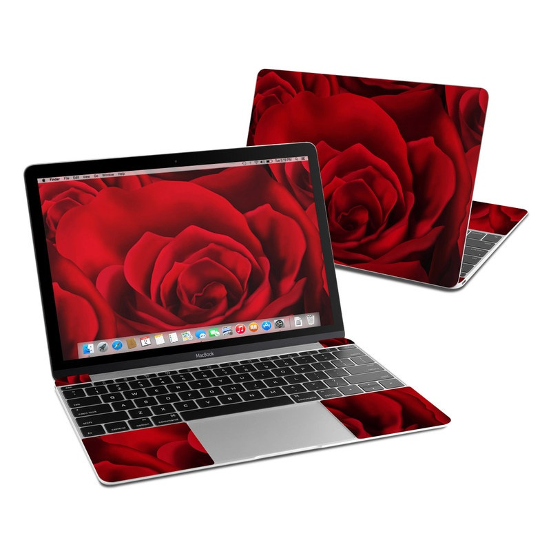 MacBook 12-inch Skin design of Red, Garden roses, Rose, Petal, Flower, Nature, Floribunda, Rose family, Close-up, Plant with black, red colors