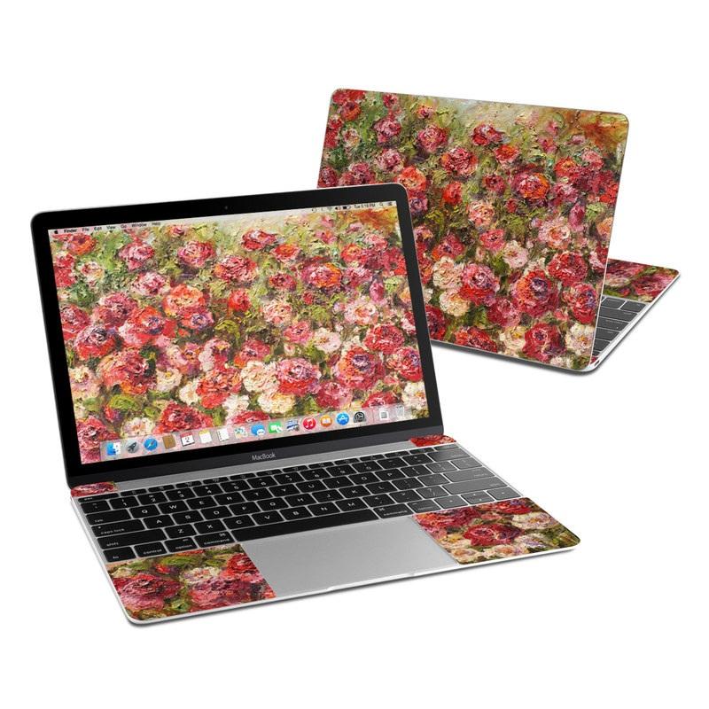 MacBook 12-inch Skin design of Flower, Garden roses, Rose, Plant, Floribunda, Flowering plant, Rosa × centifolia, Rose family, Botany, Petal with red, black, green, gray colors
