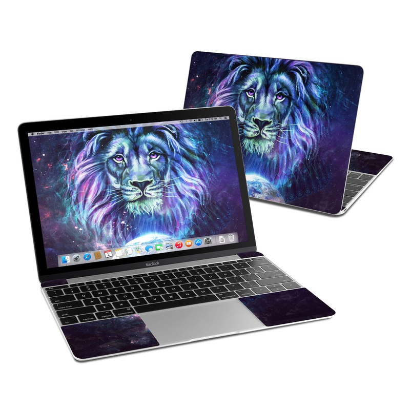 MacBook 12-inch Skin design of Lion, Felidae, Purple, Wildlife, Big cats, Illustration, Darkness, Space, Painting, Art with purple, blue, green, black, white, red colors