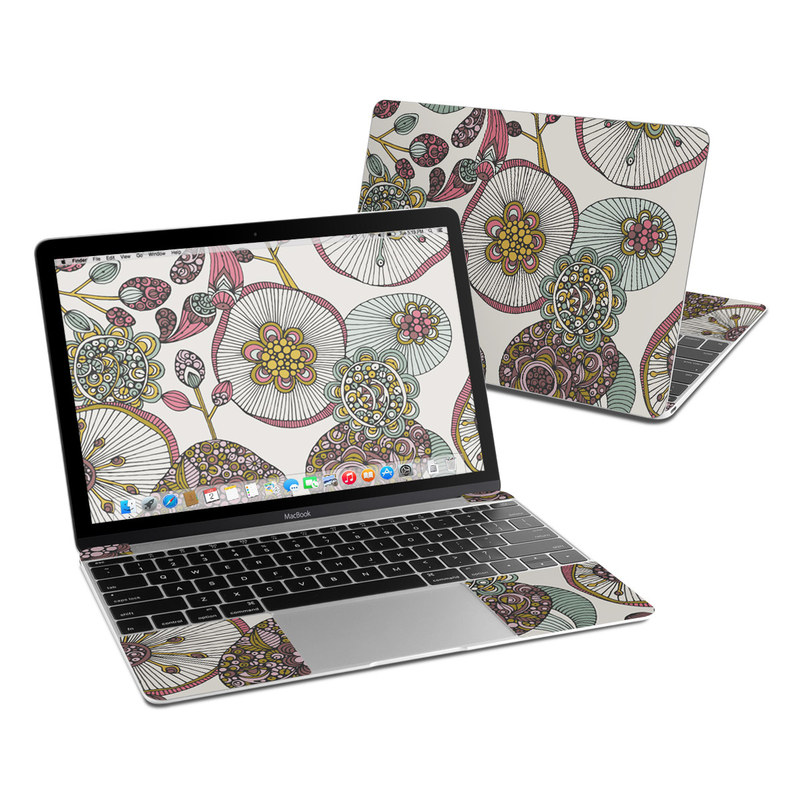 MacBook 12-inch Skin design of Pattern, Textile, Botany, Visual arts, Motif, Design, Needlework, Circle, Floral design with gray, pink, green, blue, purple colors