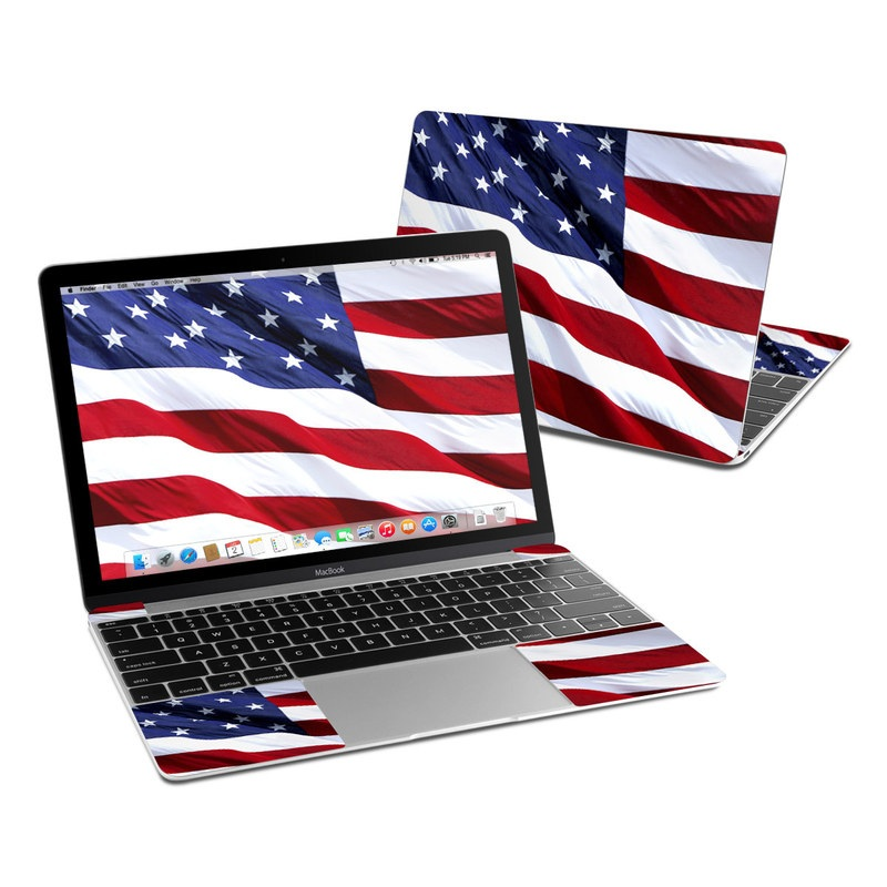 MacBook 12-inch Skin design of Flag, Flag of the united states, Flag Day (USA), Veterans day, Memorial day, Holiday, Independence day, Event with red, blue, white colors