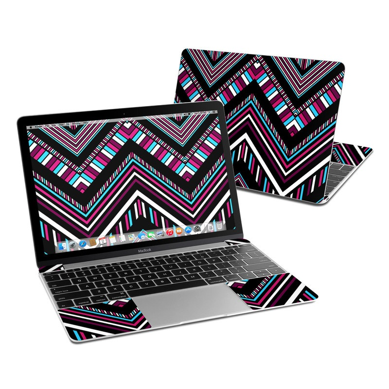 MacBook 12-inch Skin design of Pattern, Line, Symmetry, Design, Pink, Textile, Psychedelic art, Magenta, Triangle with black, gray, red, white, blue colors