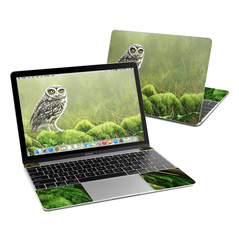 MacBook 12-inch Skin design of Nature, Owl, Bird, Bird of prey, great grey owl, Adaptation, Terrestrial plant, Wildlife, Plant, Organism with brown, gray, green, white colors