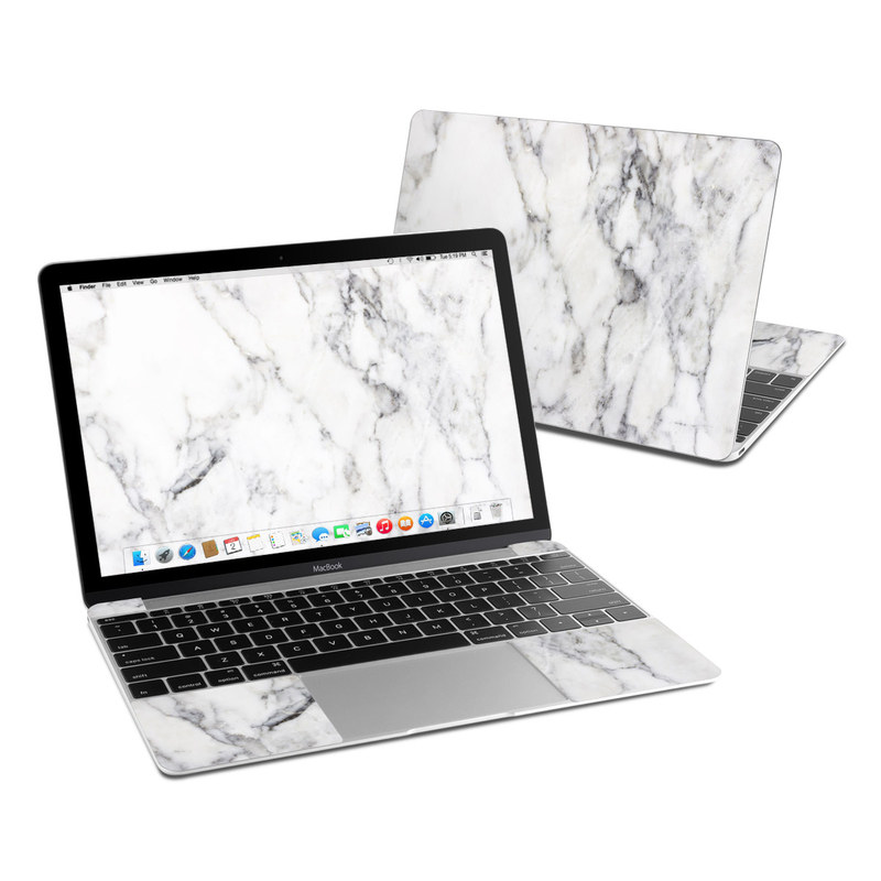 White Marble MacBook 12-inch Skin