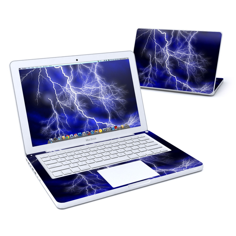Old MacBook 13-inch Skin design of Thunder, Lightning, Thunderstorm, Sky, Nature, Electric blue, Atmosphere, Daytime, Blue, Atmospheric phenomenon with blue, black, white colors