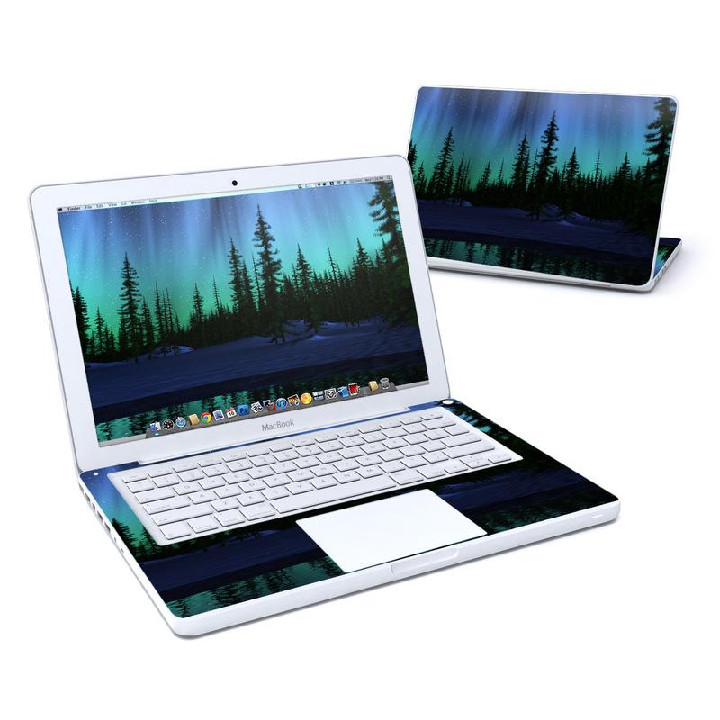 Old MacBook 13-inch Skin design of Aurora, Nature, Sky, shortleaf black spruce, Natural landscape, Tree, Wilderness, Natural environment, Biome, Spruce-fir forest with blue, purple, green, black colors
