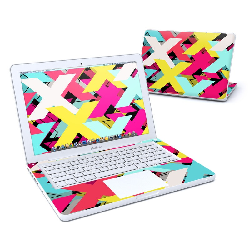 Old MacBook 13-inch Skin design of Pattern, Graphic design, Line, Design, Triangle, Font, Illustration, Magenta, Visual arts with yellow, blue, white, black, red, pink colors