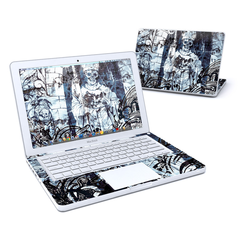 Old MacBook 13-inch Skin design of Illustration, Art, Monochrome, Visual arts, Drawing, Black-and-white, Graphic design, Fictional character, Fiction, Sketch with white, black, blue, gray colors