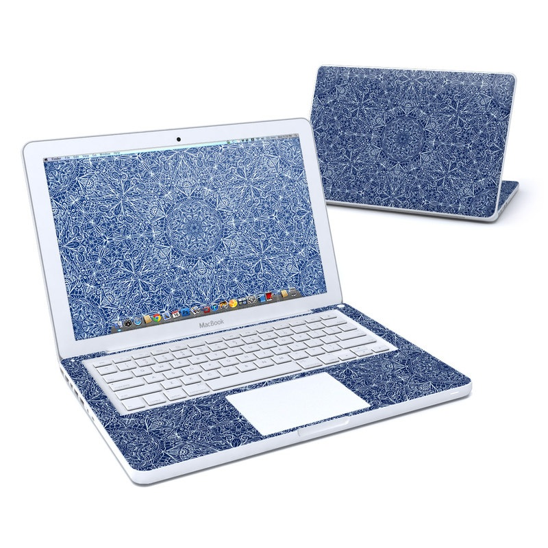 Old MacBook 13-inch Skin design of Blue, Pattern, Azure, Cobalt blue, Design, Textile, Electric blue, Wallpaper, Symmetry with blue, white colors