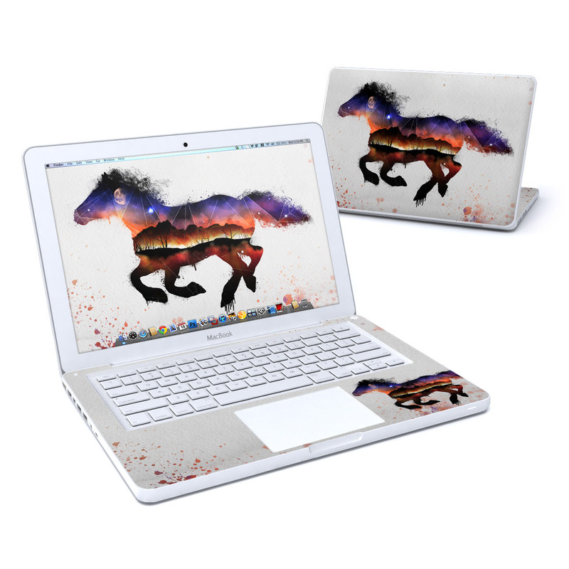 Old MacBook 13-inch Skin design of Watercolor paint, Illustration, Art, Horse, Paint, Drawing, Graphic design, Painting, Visual arts, Mustang horse with gray, white, purple, red, yellow, black, orange colors