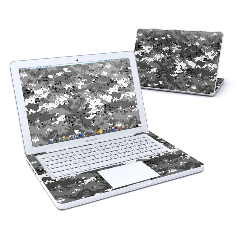Old MacBook 13-inch Skin design of Military camouflage, Pattern, Camouflage, Design, Uniform, Metal, Black-and-white with black, gray colors