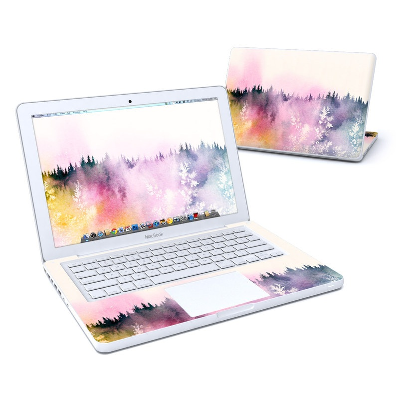 Old MacBook 13-inch Skin design of Watercolor paint, Sky, Atmospheric phenomenon, Tree, Atmosphere, Cloud, Landscape, Forest, Painting, Illustration with white, yellow, pink, purple, blue, black colors