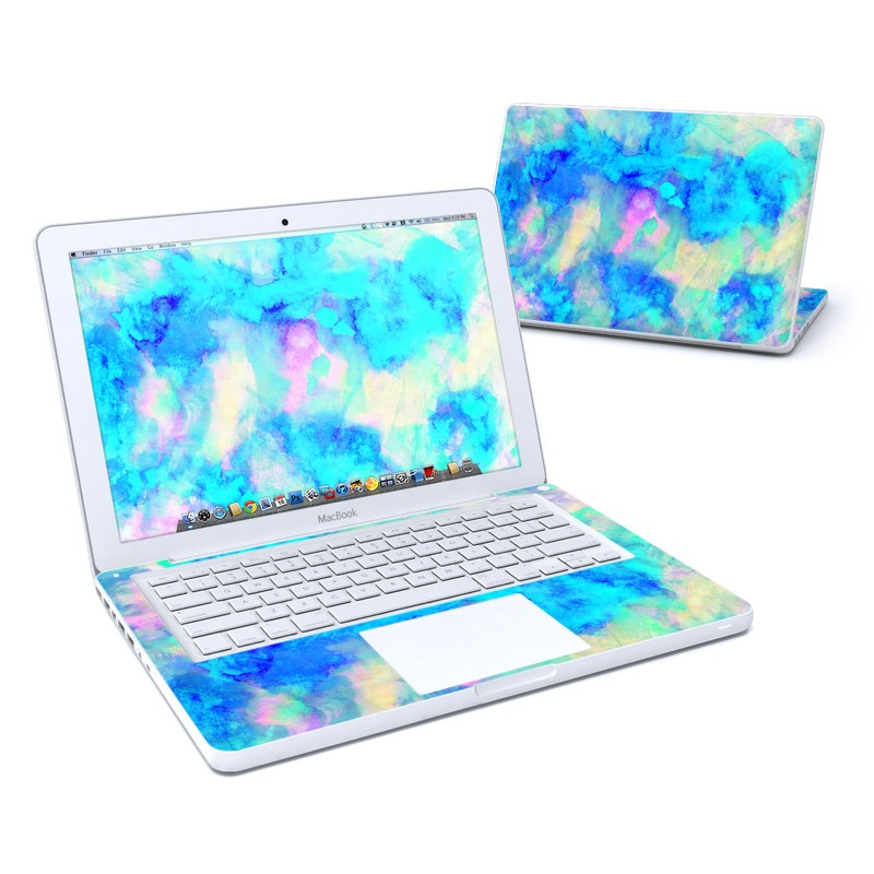 Old MacBook 13-inch Skin design of Blue, Turquoise, Aqua, Pattern, Dye, Design, Sky, Electric blue, Art, Watercolor paint with blue, purple colors
