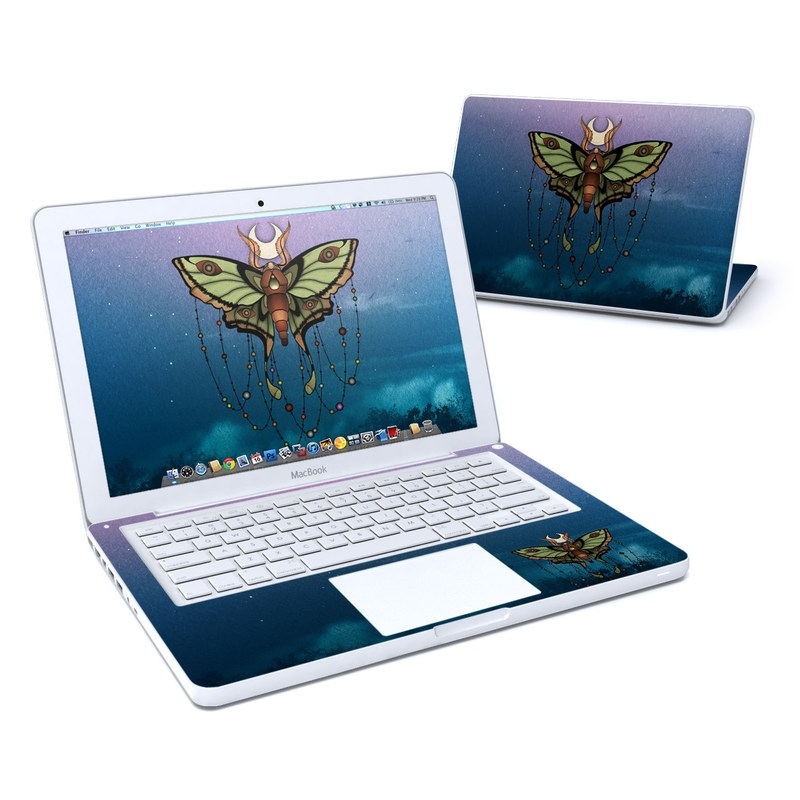 Old MacBook 13-inch Skin design of Butterfly, Moths and butterflies, Insect, Wing, Illustration, Water, Moth, Symmetry, Organism, Fictional character with blue, purple, green, black, yellow, red, white colors