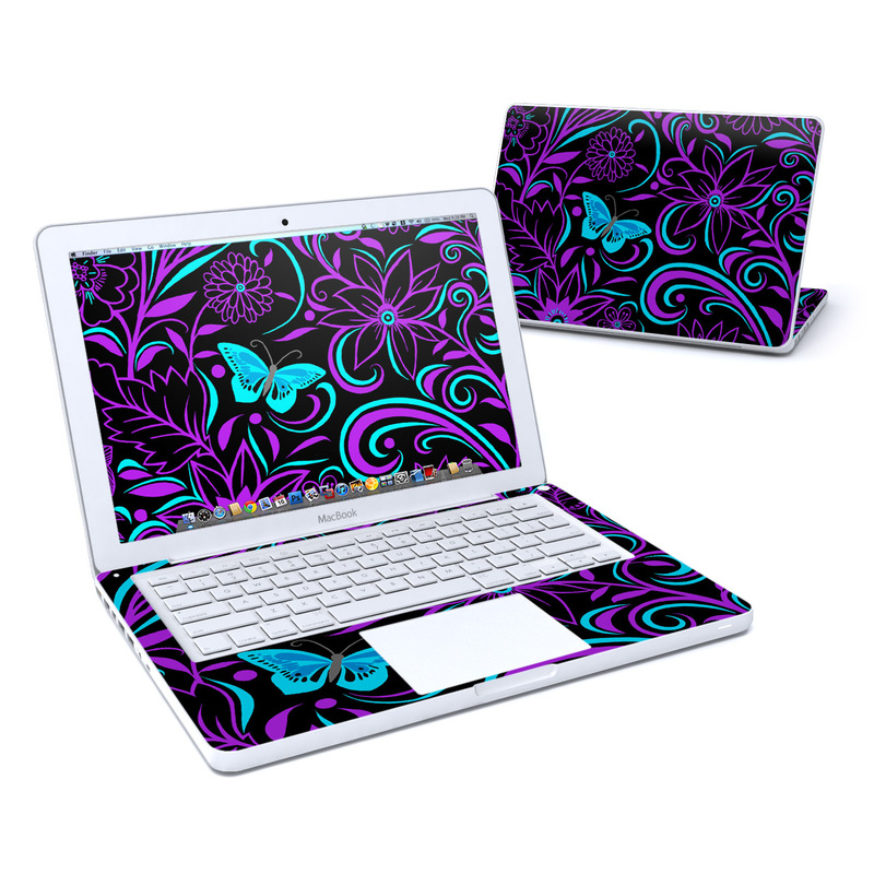 Old MacBook 13-inch Skin design of Pattern, Purple, Violet, Turquoise, Teal, Design, Floral design, Visual arts, Magenta, Motif with black, purple, blue colors