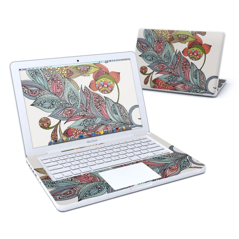 Old MacBook 13-inch Skin design of Botany, Plant, Leaf, Pattern, Flower, Illustration, Design, Motif, Protea family, Flowering plant with green, blue, pink, red, yellow, orange, gray, brown colors