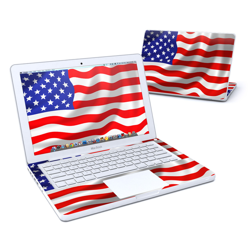 Old MacBook 13-inch Skin design of Flag of the united states, Flag, Flag Day (USA), Veterans day, Independence day, Memorial day, Holiday with gray, red, blue, black, white colors