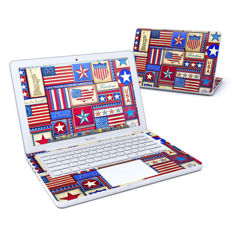 Old MacBook 13-inch Skin design of Flag, Pattern, Flag of the united states, Flag Day (USA), Games with red, gray, blue, black, pink, green colors