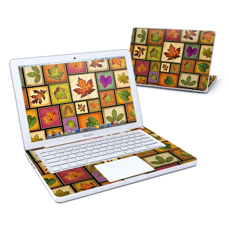 Old MacBook 13-inch Skin design of Leaf, Botany, Plant, Pattern, Art with brown, green, orange, yellow, pink colors