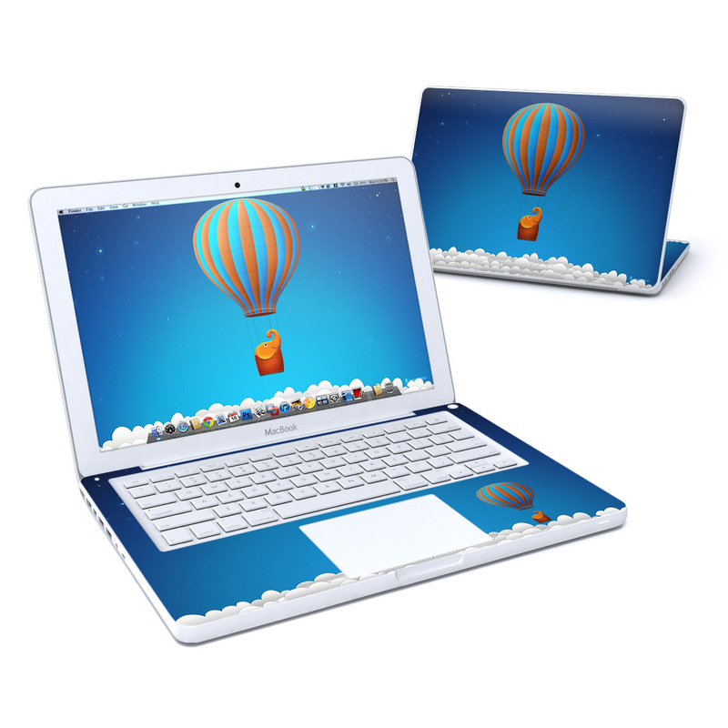 Old MacBook 13-inch Skin design of Hot air ballooning, Hot air balloon, Sky, Balloon, Air travel, Azure, Vehicle, Air sports, Illustration, Aerostat with blue, gray, red, green colors