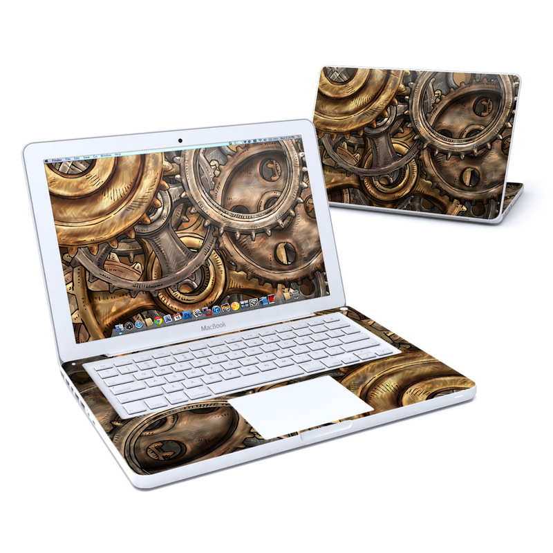 Old MacBook 13-inch Skin design of Metal, Auto part, Bronze, Brass, Copper with black, red, green, gray colors