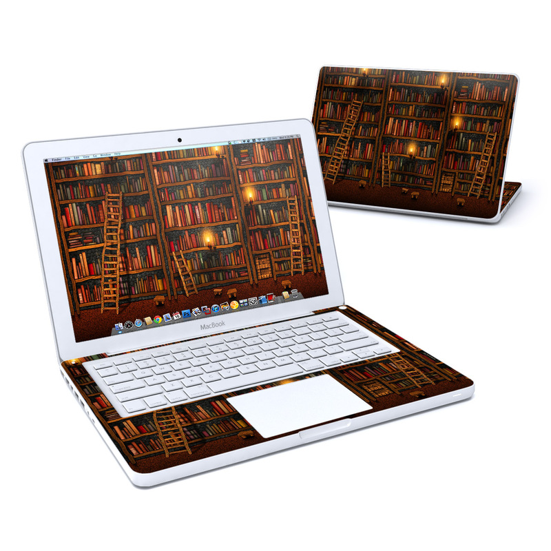 Old MacBook 13-inch Skin design of Shelving, Library, Bookcase, Shelf, Furniture, Book, Building, Publication, Room, Darkness with black, red colors