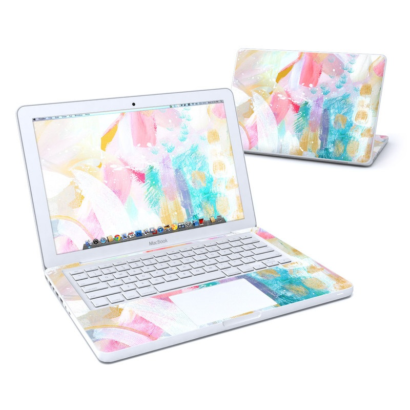 Old MacBook 13-inch Skin design of Colorfulness, Art paint, Paint, Pink, Creative arts, Art, Aqua, Magenta, Tints and shades, Font with white, blue, pink, purple, green, yellow colors