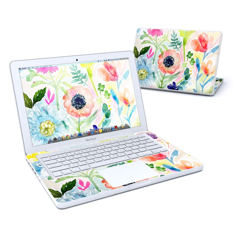 Old MacBook 13-inch Skin design of Flower, Watercolor paint, Plant, Flowering plant, Pattern, Floral design, Botany, Petal, Wildflower, Design with green, pink, yellow, orange, blue, red, purple colors