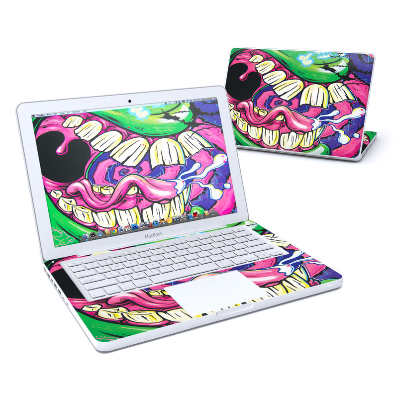 Old MacBook 13-inch Skin design of Graffiti, Psychedelic art, Art, Street art, Fictional character with black, purple, gray, green, blue, yellow colors