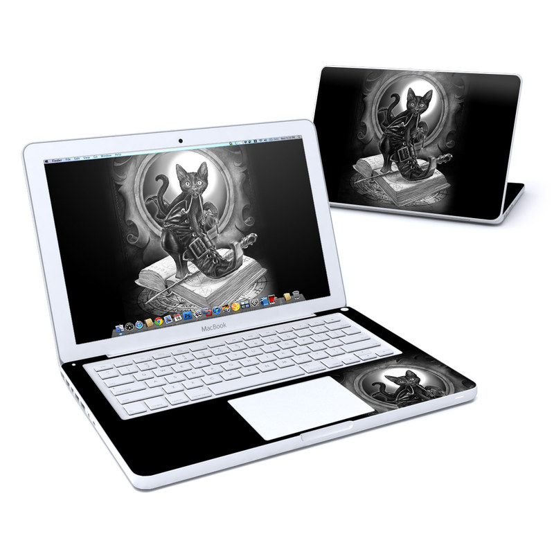 Old MacBook 13-inch Skin design of Cat, Boot, Book, Wand, Shoelace, Mirror with black, white, gray colors