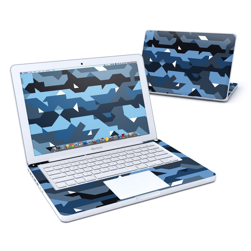 Old MacBook 13-inch Skin design of Blue, Pattern, Design, Font, Line, Camouflage, Illustration, Triangle with blue, black, white, gray colors