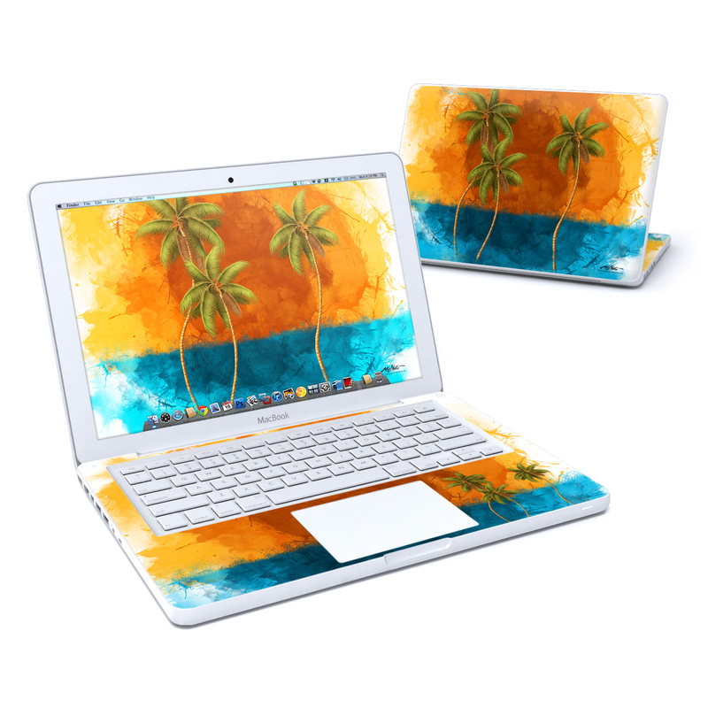 Old MacBook 13-inch Skin design of Palm tree, Watercolor paint, Arecales, Leaf, Tree, Tropics, Plant, Illustration, Art, Paint with red, blue, green, orange, black, pink colors