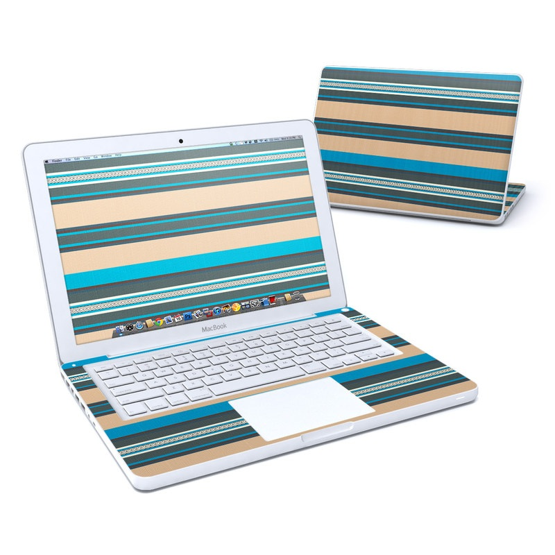 Old MacBook 13-inch Skin design of Blue, Turquoise, Green, Line, Aqua, Pattern, Rectangle, Parallel with blue, white, gray, brown colors