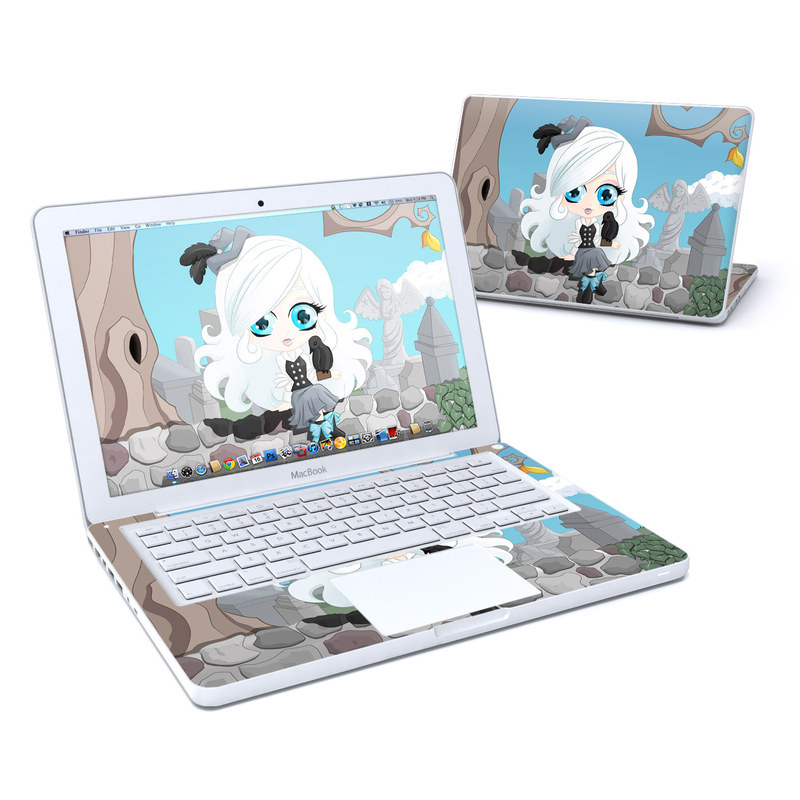 Old MacBook 13-inch Skin design of Cartoon, Illustration, Water, Animated cartoon, Fiction, Anime, Tree, Animation, Art, Technology with blue, gray, white, black, yellow, red colors