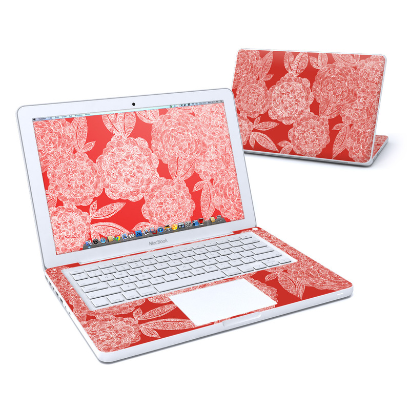 Old MacBook 13-inch Skin design of Pattern, Red, Textile, Design, Floral design, Motif, Wallpaper, Visual arts, Illustration, Peach with gray, red, green, pink colors