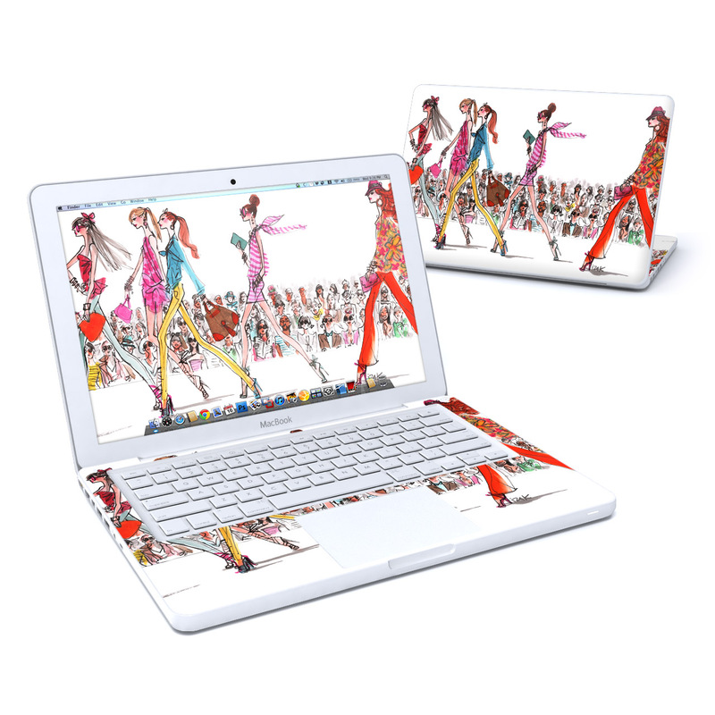Old MacBook 13-inch Skin design of Costume design, Illustration, Fashion design, Fashion illustration, Art, Style with white, gray, red, black, green, pink colors