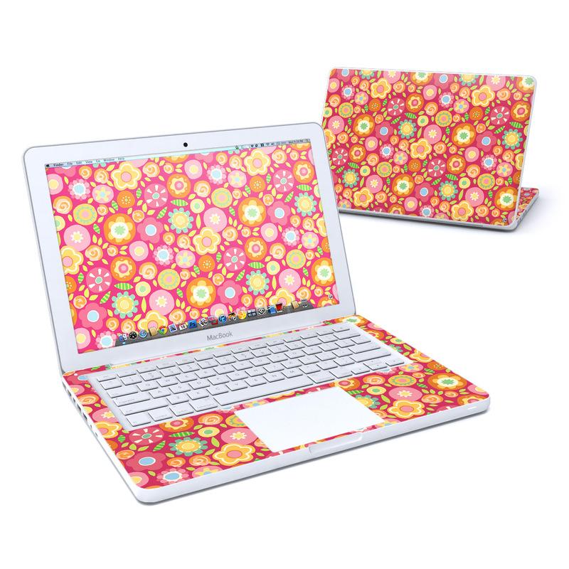 Old MacBook 13-inch Skin design of Orange, Pattern, Design, Circle with red, pink, green, gray, orange, purple colors