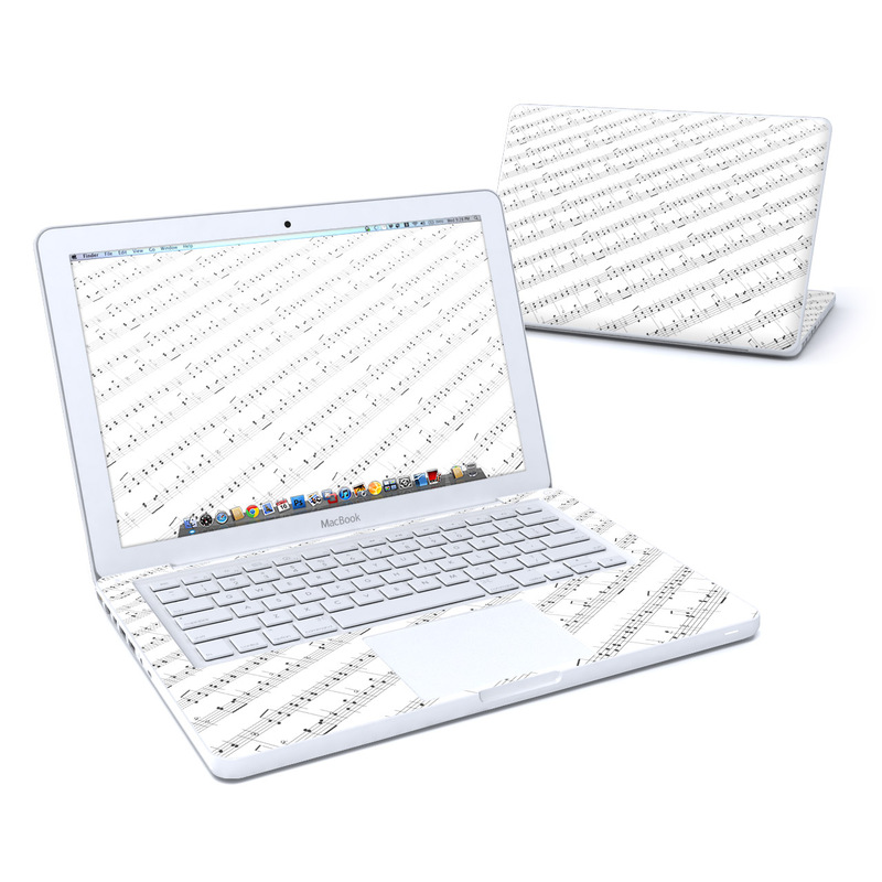 Old MacBook 13-inch Skin design of Sheet music, Music, Text, Monochrome, Line, Font, Parallel, Classical music with white, gray colors